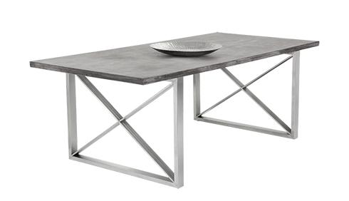 bàn inox mặt gỗ 2
