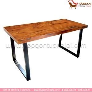 Bàn ăn mặt gỗ chân sắt sơn tĩnh điện