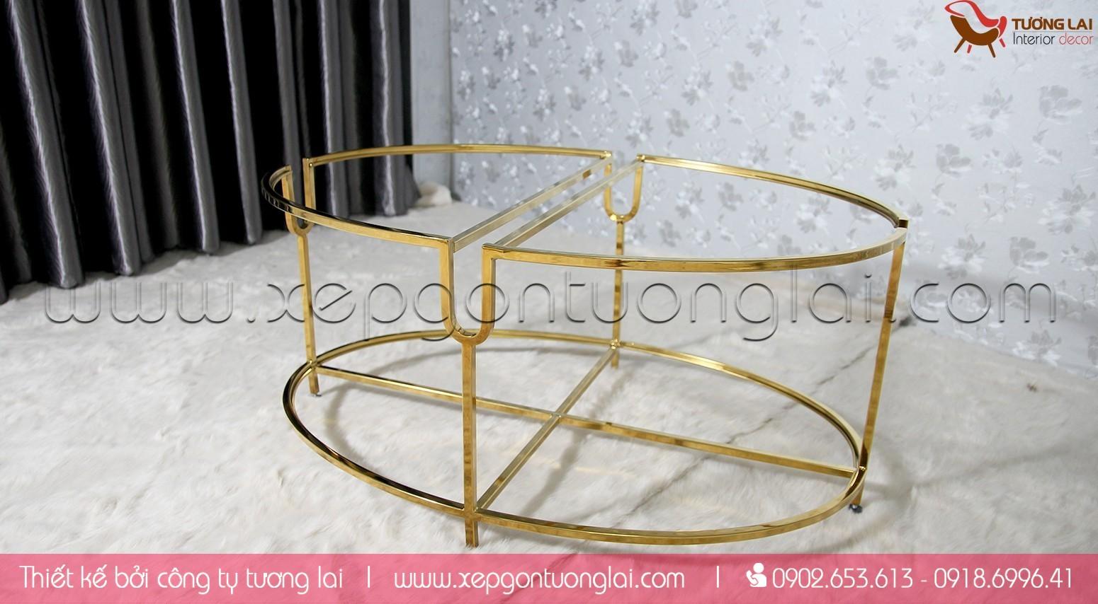 Gia Công Inox - Bàn sofa oval inox si vàng